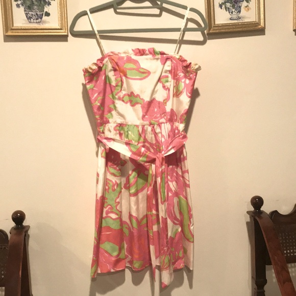 Neon floral Lily Pulitzer print strapless dress